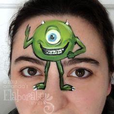 Monster's Inc Mike Disney Pixar face paint design cheek art Face Painting Colours, Eye Face Painting, Face Painting For Boys, Face Paint Makeup, Face Painting Designs, Paint Designs, Face Art, Body Painting, Face Paintings