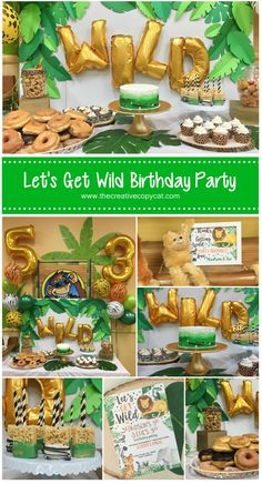 lets get wild party animals birthday party. Lots of great diy ideas for a safari or jungle themed party lets get wild party animals birthday party. Lots of great diy ideas for a safari or jungle themed party Animal Themed Birthday Party, Jungle Theme Birthday, Wild One Birthday Party, Safari Birthday Party, 3rd Birthday Parties, Animal Party, Party Animals, Jungle Party, Birthday Ideas