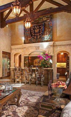 Tuscan design – Mediterranean Home Decor Beautiful Kitchens, Beautiful Interiors, Beautiful Homes, Tuscan Style Homes, Tuscan House, World Decor, Tuscan Decorating, Decorating Ideas, Decor Ideas