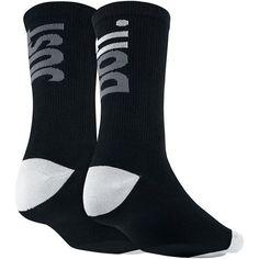 Nike ''Just Do It'' Women's Crew Socks ($9) ❤ liked on Polyvore featuring intimates, hosiery, socks, black, nike, graphic socks, crew socks, crew length socks and print socks