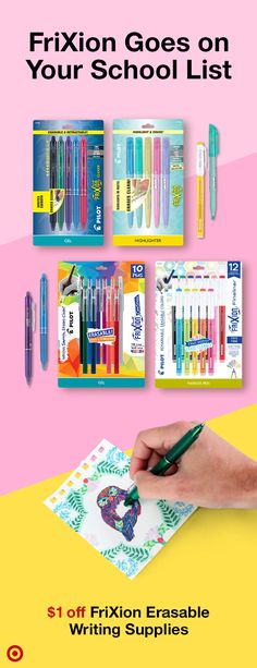 $1 off FriXion erasable writing supplies at Target. Erase easily and perfect your projects. School Supplies, Art Supplies, Office Supplies, School Notes, School Stuff, Quick Diy Projects For The Home, Planner Ideas, Art Club, Spacecraft