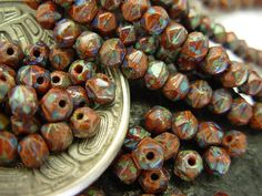 4mm Czech English Cut Glass Beads Umber Picasso 100 by KentOBead, $4.45