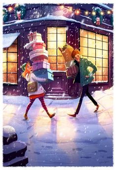 Beautiful art illustrations by Yaoyao Ma Van As Art Shared by Veri Apriyatno Artist . Illustration Noel, Winter Illustration, Couple Illustration, Christmas Illustration, Art Illustrations, Digital Illustration, Relationship Drawings, Art Mignon, Photo D Art