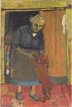 Joan Eardley (1921-1963), Old woman with dog, oil on canvas, 36 x 24 in. (91.4 x 61 cm.)