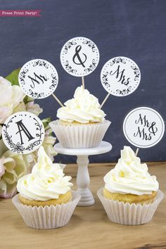 Rustic wedding cupcakes ideas s cupcake toppers printable press print party and sign . Wedding Cupcake Toppers, Rustic Wedding Cake Toppers, Country Wedding Cakes, Wedding Cakes With Cupcakes, Simple Cupcakes, Black Wedding Invitations, Printable Wedding Invitations, As You Like, Trendy Wedding
