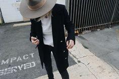 Janessa Leone hat, Acne Studios tee, Saint Laurent belt, Ksubi jeans and chucks. Via Mija