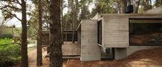 Use of wood and concrete.  Shape of house and how it sits on the hillside