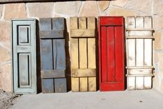 Rustic Window Shutters Here Are Several Rustic Styles And Color Ideas For Exterior Wooden Shutters Rustic Outside Window Shutters Window Shutters Exterior, Outdoor Shutters, Rustic Shutters, House Shutters, Diy Shutters, Exterior Doors, Diy Exterior, Shutters Inside, Black Shutters