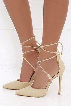 LULUS Michele Nude Lace-Up Heels at Lulus.com!