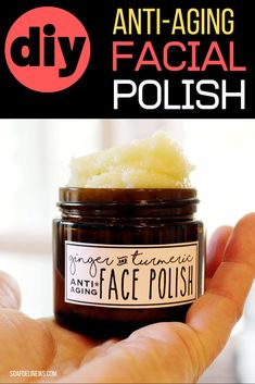 DIY face polish with essential oils. DIY anti-aging skin care products. How to make natural skin care products for your anti-aging beauty regimen. Learn how to use ginger and turmeric essential oils to make an exfoliating face polish for face polishing at home as part of your natural skin care routine. The best beauty tips for maturing skin are clean beauty products. Make DIY beauty products with these easy beauty recipes. Make natural skin care products for affordable face polishing at home.