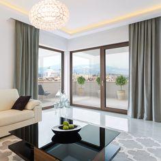 Big Windows, Windows And Doors, Modern Chandelier, Chandelier Lighting, Color Chrome, Dining Room Lighting, Wood Colors, Living Room Interior, Sliding Doors