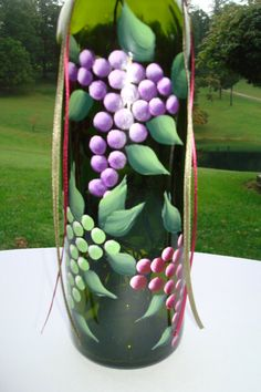 Hand painted wine bottle lamp with green purple by Tabithashands, $25.00