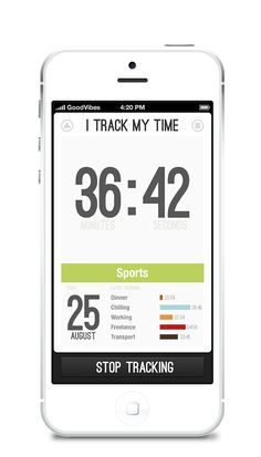 iTrackMyTime App for iPhone by Aleksej Tišionok, via Behance