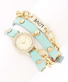 Another great find on #zulily! Gold & Mint Sparkle Chain Wrap Watch #zulilyfinds