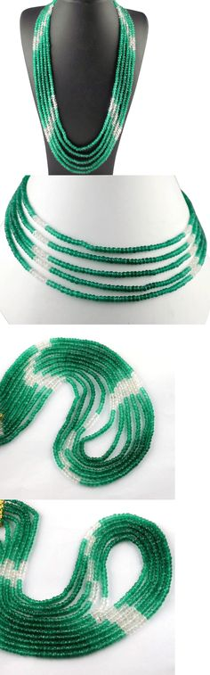 Cultured and Freshwater Pearls 134294: 5 Strands Natural Green Onyx Gemstone Faceted Bead 3.5-4Mm Rondelle Necklace 16 -> BUY IT NOW ONLY: $59.91 on eBay!