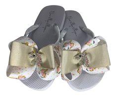 503e1c745373 Gold Pink White  Ivory Unicorn Bow Flip Flops - Women or Girls Bride Sandals  Beach