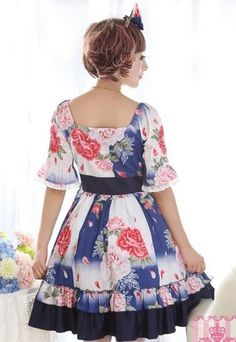 Skyblue Floral Short Sleeves Lolita Dress $49.99-Cotton Girls Dresses - My Lolita Dress