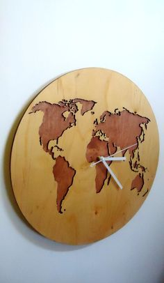 Mapa del mundo reloj de pared de 157 diámetro por latwoodyworld