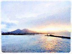 Sunrise Over Mt. Vesuvius Watercolor Framed by MerlinWatercolors