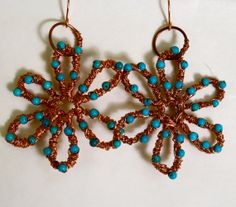 Hoope earrings Dangle earrings Turquoise  Wire Wrapped by chashway, $78.00