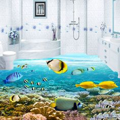 Benutzerdefinierte 3D Bodenbelag Wandbild Fototapete Tiefseefischen Unterwasser wandbilder 3D Bodenfliesen Papel De Parede Paisagem Wand Papier rolle(China (Mainland))