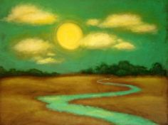 """""""Sunny River""""  © 2011 Royah Loie - 32"""" x 40"""" painting"""