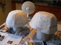 How to make a decorative light. Paper Mache Mushroom Lamp - Step 3