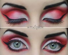 Red white and black eye shadow