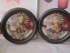 2x Wachsbild Hinterglas Klosterarbeit Maria und Josef mit Reliquien Intarsien
