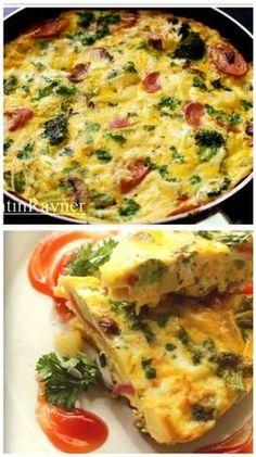Frittata Brokoli,Sosis,Jamur dan Keju - Italian Omelete