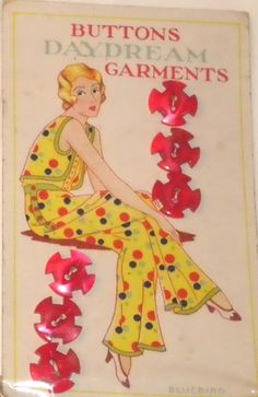 ButtonArtMuseum.com - Red Deco Buttons on card with woman wearing yellow polka-dot outfit.