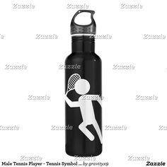 Male Tennis Player - Tennis Symbol (on Black) Water Bottle  #Sports4you #Gravityx9 #Zazzle -