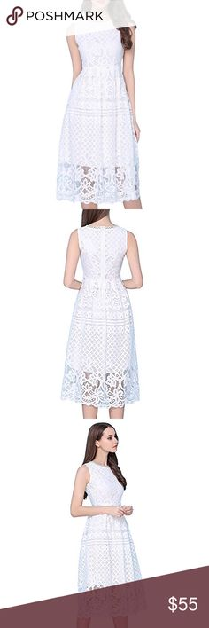 White Lace Sleeveless Flare Elegant Dress, XS-XXL ☁️Feature: Midi dress, with patterned elegant lace, inner skirt, Sleeveless. Perfect for party, prom and causal wedding!☁️Material: Polyester          ☁️Size: XS-XXL.       Please allow 3-4 days of handling. Dresses Midi