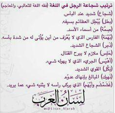 ترتيب شجاعة الرجل في اللغة العربية.