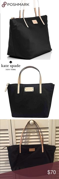 Kate Spade ♠️ Sophie Tote This is the Kate Spade nylon Sophie tote in size medium. Measures about 15.5W x 10.5H x 6.5D. A nice compact size for everyday wear! Leather handles, nylon outer material, zipper closure and cute polka dot lining with inner zipper slot pockets. Gently used in good condition! kate spade Bags Totes