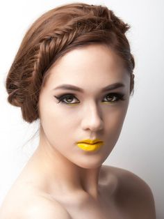 Rad hair and makeup #fishtail #yellow