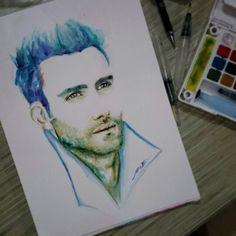 Adam Levine Watercolor on paper