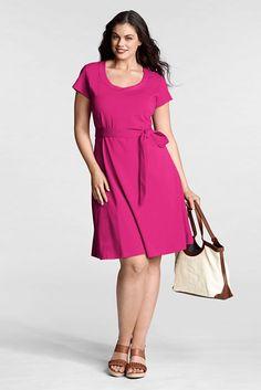 Women's Plus Size Cotton Modal Trapunto Scoopneck Dress from Lands' End