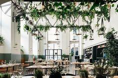 Urban Jungle: Prado, a Restaurant in an Abandoned Factory in Lisbon - Remodelista Lisbon Restaurant, Lisbon Hotel, Restaurant Design, Restaurant Interiors, Restaurant Restaurant, Prado, Hotel Provence, Cafe Interior, Arquitetura