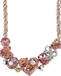 VINTAGE HEART NECKLACE PINK #pretty #sparkle #betseyjohnson
