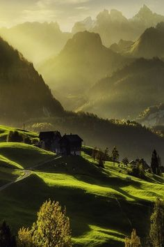 Mountain Valley, Schwyz, Switzerland #Switzerland #travel