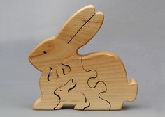 Rabbit Puzzle Wooden Waldorf toy for Kids Boys and Girls Organic Gift Stocking Stuffers
