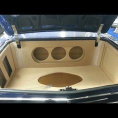 """The beginning of the trunk for the 66 Chevelle. All CT Sounds equipment! 3-10"""" Strato's and 2 mini amps. custom car stereo install fiberglass subwoofer subs:"""