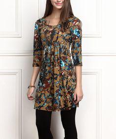 Look at this #zulilyfind! Brown Floral Empire-Waist Tunic Dress - Plus Too #zulilyfinds