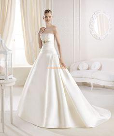 Strapless Estilo Ialeel vestidos de novia de saten 2014 Collection La Sposa