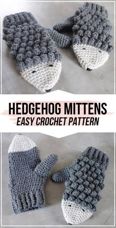Crochet Hedgehog Mittens pattern - easy crochet mittens pattern for beginners Quick Crochet Patterns, Crochet Mittens Free Pattern, Crochet Gloves, Crochet For Kids, Crochet Stitches, Crochet Symbols, Crochet Ideas, Free Crochet, Sewing Patterns
