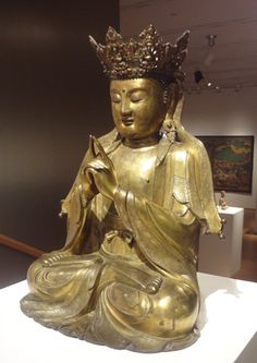 "Gilt bronze figure of Vairocana Buddha, Ming Dynasty, 16th Century, China, 20 1/4"" high."