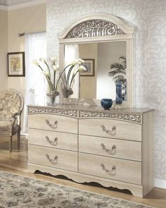 Ashley Catalina B196 Queen Size Sleigh Bedroom Set 5pcs in Antique White 3319   (                                                                                                                                         B196-77-74-96-92-46-31-36                         ) Buy online!