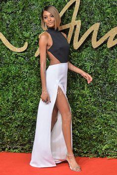 jourdan dunn black and white high halter prom dress