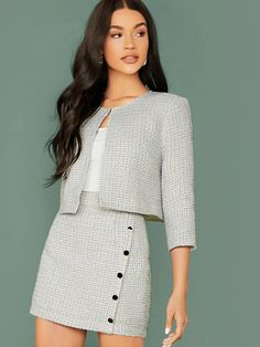 To find out about the Plaid Open Front Tweed Jacket & Buttoned Bodycon Skirt Set at SHEIN, part of our latestTwo-piece Outfits ready to shop online New Arrivals Dropped Daily. Girly Outfits, Classy Outfits, Pretty Outfits, Casual Outfits, Pink Blazer Outfits, Suit Fashion, Look Fashion, Korean Fashion, Fashion Outfits